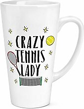 Crazy Tennis Lady 17oz große Latte Becher