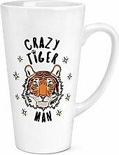 Crazy Tiger Mann Sterne 17oz große Latte Becher