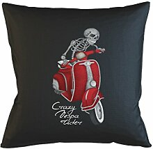 Crazy Vespa Rider Moped Schlafsofa Home Décor Kissen Kissenbezug Fall Schwarz