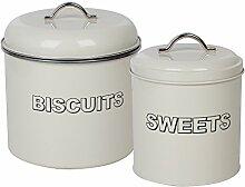 crazygadget Vintage Biscuit & Sweets Ölkanister Set Classic Retro Metall Küche Storage Set: Keksdose & Sweets Dose Ölkanister Set in creme