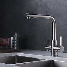 CREA 3-Wege-Küchenarmatur, Trinkwasser, heißes und kaltes Wasser 2 Griff rotierende Wasserdüse Wasserfilter Zeichnung Nickel Küchenspüle Wasserhahn Mischer Wasserhahn