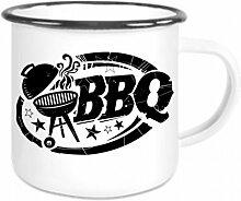 crealuxe Emaille Tasse mit Rand BBQ - Kaffeetasse
