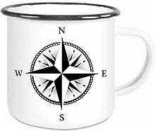 crealuxe Emaille Tasse mit Rand Kompass -