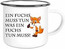 crealuxe XXL - Emaille Tasse mit Rand Ein Fuchs