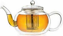 Creano doppelwandige Glas-Teekanne 1,2l mit