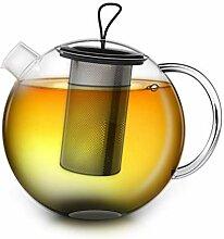 Creano Teekanne 1,5l Jumbo, 3-teilige Glasteekanne