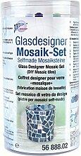 CREARTEC Glasdesigner Mosaik - Set in dunkelblau , hellblau , blaugrün