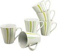 Creatable Kaffeebecher Set 6 teilig, Porzellan,