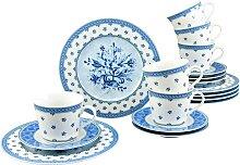 CreaTable Kaffeeservice Country Blue (18-tlg.),