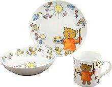 CreaTable Kindergeschirr-Set Teddy (3-tlg.),
