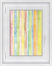 creatisto Fenster Folie - selbsklebendes Fensterbild | hochwertige Glasdekor-folie - individueller Fenstersticker | Fenster-Deko für Bad und Küche | Fensterfolie 50 x 70 cm - Motiv Watercolor Stripes