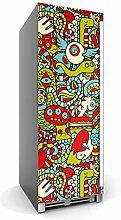 creatisto Kühlschrank 60x150 cm Kühlschrank Poster XXL Küche | Schutz Kühlschrankfront Folie Sticker Aufkleber abwaschbar Kühlschrank verschönern | Design Motiv Monster Doodle