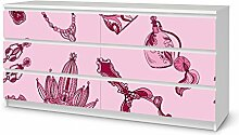 creatisto Möbelfolie Kinder-Möbel für IKEA Malm 6 Schubladen (breit)   Klebefolie Sticker Aufkleber Möbelaufkleber   Deko Ideen IKEA Möbel für Kinder Walltattoo   Kids Kinder Pink Princess