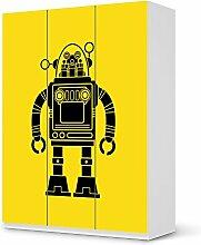 creatisto Möbelfolie Kinder-Möbel für IKEA PaxSchrank 201 cm Höhe - 3 Türen   Klebesticker Aufkleber Folie Deko-Folie   Ideen für IKEA Möbelfolie Kinder Kindertapeten   Kids Kinder Retro Robo