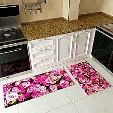 Creative 3D Strand Teppich Läufer Teppich 2Stück Set, Ultra Soft 3D Küche Bad Anti-Rutsch-Bereich Teppich, Bodenmattenset 78,7x 50,8cm + 160x 50,8cm, Polyester-Mischgewebe, Pink Rose, 31x20 In + 63x20 In