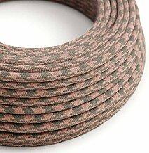 creative cables Textilkabel rund, antikrosa grau