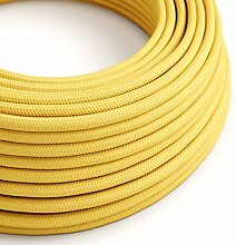 creative cables Textilkabel rund, gelb mit