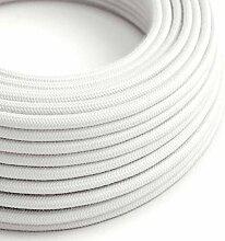 creative cables Textilkabel rund, weiß Baumwolle,