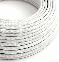 creative cables Textilkabel rund, weiß mit