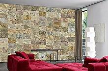 Creative Collage Landkarten Foto-Tapete 64-teilig - Fototapete Wallpaper. Beigelegt sind eine Packung Kleber und eine Klebeanleitung.