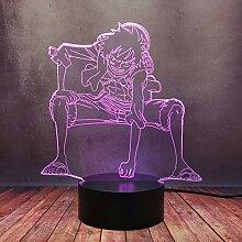 Creative Comic Boy Affe Luffy Decor Nachtlicht, 3D