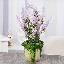 Creative Crafts Home Wohnzimmer Dekorative Simulation Pflanze Lavendel Fake Blume Kohl Topf Kleine Bonsai
