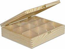 Creative Deco Teebox Holz 12 Fächer mit Deckel |