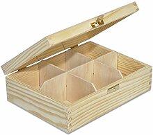 Creative Deco Teebox Holz 6 Fächer mit Deckel |