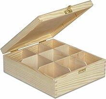 Creative Deco Teebox Holz 9 Fächer mit Deckel |