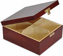 Creative Deco Teebox Rot Holz 4 Fächer mit Deckel