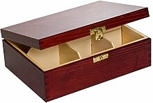 Creative Deco Teebox Rot Holz 6 Fächer mit Deckel