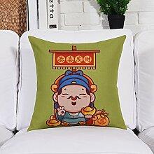 Creative kissen chinesisch-art kissen verdickte baumwoll- und leinenkissen sofa-kissen-A 60x60cm(24x24inch)VersionA