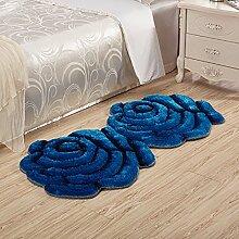 Creative Light- 3D stereoskopische Rose Matte Computer Stuhl Kissen Untervielfalt von Farben profilierte Anti-Rutsch-Matten neben dem Bett ( Farbe : Blau , größe : 0.7m*1.4m )