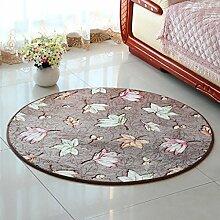 Creative Light- Einfache runde Teppiche rutschfeste Computer Stuhl Matten Ottomans Schlafzimmer Nachttisch Teppich ( Farbe : #2 , größe : 120cm*120cm )