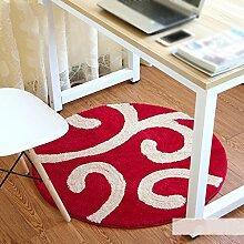 Creative Light- Handstickerei Cartoon Runde Teppiche Computer Stuhl Couchtisch Matte Schlafzimmer Study Wohnzimmer Ottomans Child Crawling Matten ( Farbe : Rot , größe : Diameter 90cm )