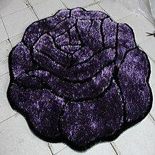 Creative Light- Runde Wohnzimmer Teppiche Rose Pattern Verschlüsselter Teppich Computer Stuhl Matten Schlafzimmer Nachttisch Teppich ( Farbe : Lila , größe : 100*100cm )