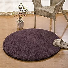 Creative Light- Solid Color Round Teppich, Bedside Blanket Schlafzimmer Wohnzimmer Couchtisch Study Computer Swivel Stuhl Pad Korb Rattan Stuhl Pad Yoga Fitness Teppich ( Farbe : Lila )