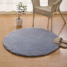 Creative Light- Teppich Solid Color Round Teppich Wohnzimmer Schlafzimmer Sofa Study Garderobe Teppich Fuß Pad Büro Computer Schreibtisch und Stuhl Non-Slip Teppich ( Farbe : Silber - grau , größe : 1.4m*1.4m )