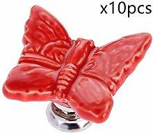 Creatwls 10PCS Europäischen Stil Schmetterling Form Knopf Griff Schrank Dekoration für Mädchen und Baby Kindermöbe,Türknöpfe Moebelgriffe Schubladengriffe Möbelknopf.-Ro