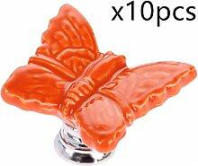 Creatwls 10PCS Europäischen Stil Schmetterling Form Knopf Griff Schrank Dekoration für Mädchen und Baby Kindermöbe,Türknöpfe Moebelgriffe Schubladengriffe Möbelknopf.-Orange