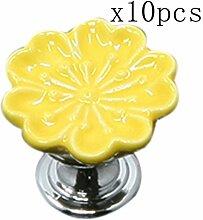 Creatwls 10pcs Kreativ Keramik Möbel Knöpfe Küchen Schränke Möbelknauf Möbelgriff Türknauf Diy Schrankgriff Schaufenster Türgriff, Kinder Schublade Knöpfe (Gelb)