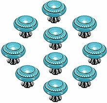 Creatwls 10PCS Porzellan / Keramik - Möbelgriff Türknauf Schrankgriff Schrankknopf Möbelknauf - Knauf & Griff Runder Klappschrank Möbel Knopf (Blau)