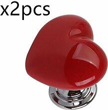 Creatwls 2 PCS Keramik Herzform Schrank Knöpfe, Kommode Knöpfe, Küchen und Schränke Hardware Griffe Möbelknauf Möbelgriff Türknauf Schrankknopf Schubladengriff . (Rot)