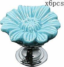 Creatwls 6 Stück Porzellan / Keramik - Möbelgriff Türknauf Schrankgriff Schrankknopf Kinderzimmer Möbelknauf Runde Klappschrank Knauf & Griff (Blau)