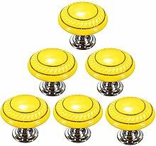 Creatwls Gelb Mode Kreis MusterRunder Keramik Knopf,Einloch TürKnopf Handgriff Schrank Kleider Garderobe Schubladen Ziehgriff Haus Dekoration - 6PCS
