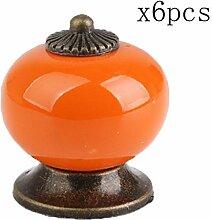 Creatwls Keramik Vintage Antik Porzellan Shabby Chic Vintage Möbelknopf Möbelknöpfe Küche Schrank Griff - 6pcs, Orange