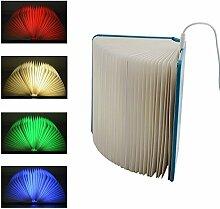 creatwls LED faltbar Book Light Nachtlicht Vier Farbe ändern USB wiederaufladbar Creative Nachttischlampe Schreibtisch Tisch Dekoratives Licht Modern blau