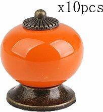 Creatwls Möbelknauf, Möbelknöpfe, Möbelgriff, Vintage Keramik Porzellan Griff Knopf Türknöpfe - 10pcs, Orange