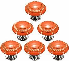 Creatwls Orange Mode Kreis MusterRunder Keramik Knopf,Einloch TürKnopf Handgriff Schrank Kleider Garderobe Schubladen Ziehgriff Haus Dekoration - 6PCS