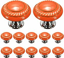 Creatwls Orange Möbelknopf Möbelknauf Möbelgriff Keramik Knöpfe zieht Griffe für Schublade Schrank Kommode Kleiderschrank Möbel Tür Küche mit Schraube - 12PCS